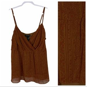Lane Bryant Boho Brown Paisley Braided Strap Tank